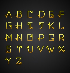 Gold alphabet set vector