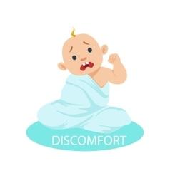 Little baby boy in nappy tangled in blanket vector