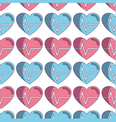 Nice heartbeat to cardiac rhythm background vector