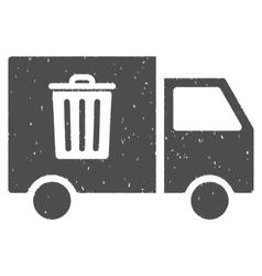 Rubbish transport van icon rubber stamp vector