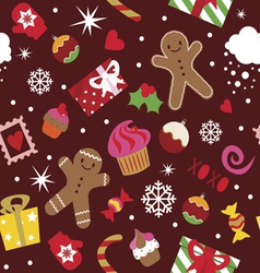 Seamless pattern Christmas holidays elements vector image