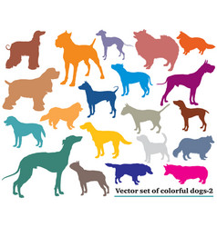 Set of colorful dogs silhouettes-2 vector