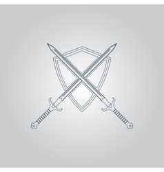 Two swords and shield vector image vector image