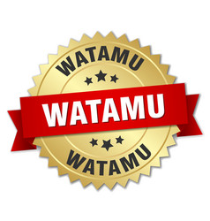 watamu round golden badge with red ribbon vector image vector image
