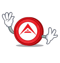 Waving ark coin character cartoon vector