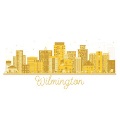 wilmington usa city skyline golden silhouette vector image vector image