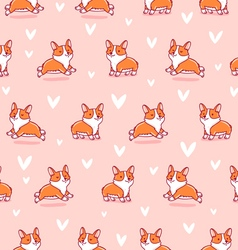 Cute corgi pattern on pink background vector