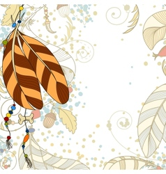 Greeting card wit feathers and beads vector image