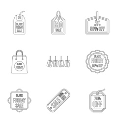 Large discounts icons set outline style vector