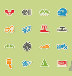 Racing icon set vector