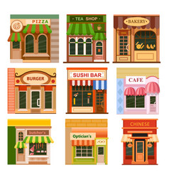 Flat shop store icon set vector