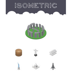 Isometric architecture set of england india vector