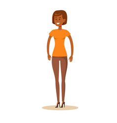 Full-length portrait of afro beautiful young girl vector