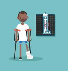 disabled black man on crutches with broken leg vector image