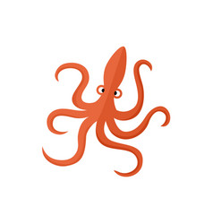 funny red octopus flat cartoon vector image