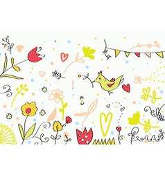 Floral cute banner with flowers birds hearts vector