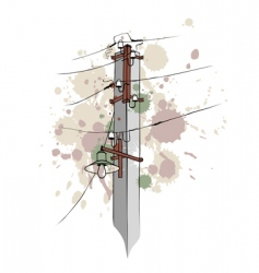 Urban grungy pillar vector