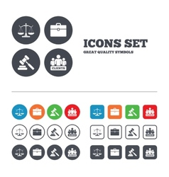 Scales of justice icon auction hammer and case vector