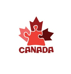 Canadian maple leaf on puzzle pieces vector