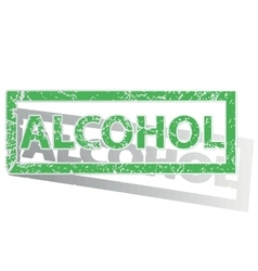 Green outlined alcohol stamp vector