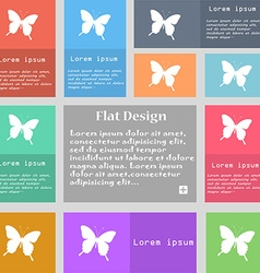 Butterfly icon sign set of multicolored buttons vector