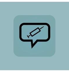 Pale blue syringe message icon vector
