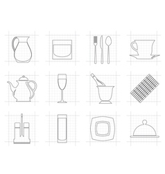Restaurant cafe bar and night club icons vector