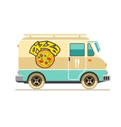Minibus for pizza delivery vector
