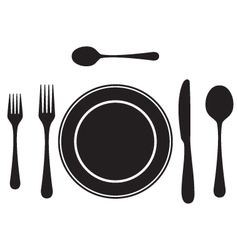 Black silhouettes of cutlery tableware vector
