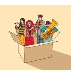 Music and musicians people group in box color vector