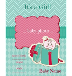 Announcement baby girl card vector