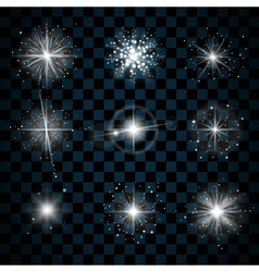 Shine stars with glitters and sparkles icons vector