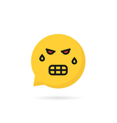 angry emoji speech bubble logo vector image