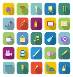 Art color icons with long shadow vector