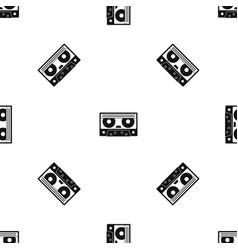 Audio cassette tape pattern seamless black vector