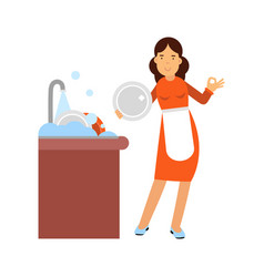 Beautiful young brunette woman housewife washing vector