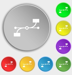 Bezier curve icon sign symbols on eight flat vector
