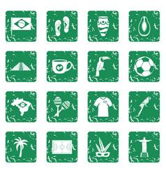 Brazil travel symbols icons set grunge vector