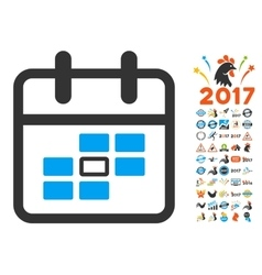 Calendar Date Flat Icon with 2017 Year Bonus vector image