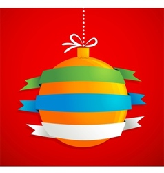 Christmas ball with ribbons and text space vector image