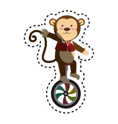 Cute monkey circus animal vector