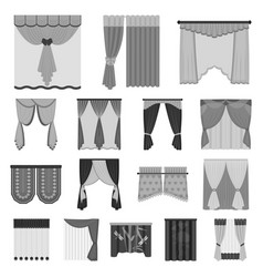 Different kinds of curtains monochrome icons in vector