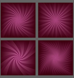 Gradient spiral and ray burst background set vector