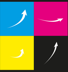 Growing arrow sign white icon with vector