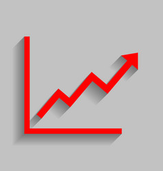 Growing bars graphic sign red icon with vector