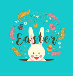 Happy easter typography bunny egg spring vector