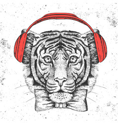 Hipster animal tiger hand drawing muzzle of tiger vector