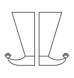 Jester boots shoes image thin line vector