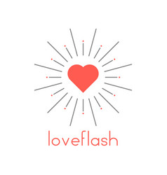 loveflash with red heart and sun burst vector image vector image