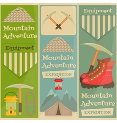 Mountains equipment set vector